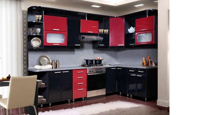 Кухня лиза черно красная
